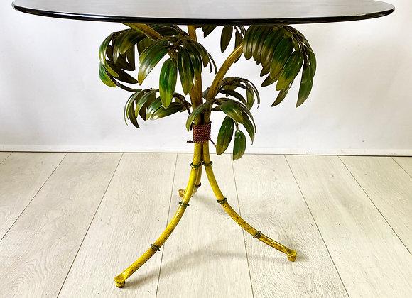 Italian faux bamboo & palm tole table