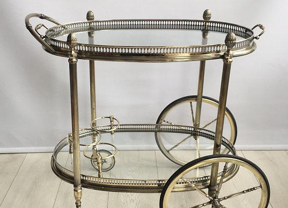 SOLD Att Maison Bagues oval brass drinks trolley