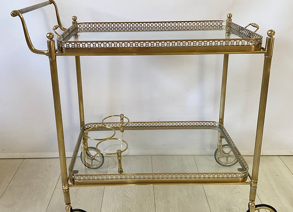 Vintage French brass drinks trolley bar cart