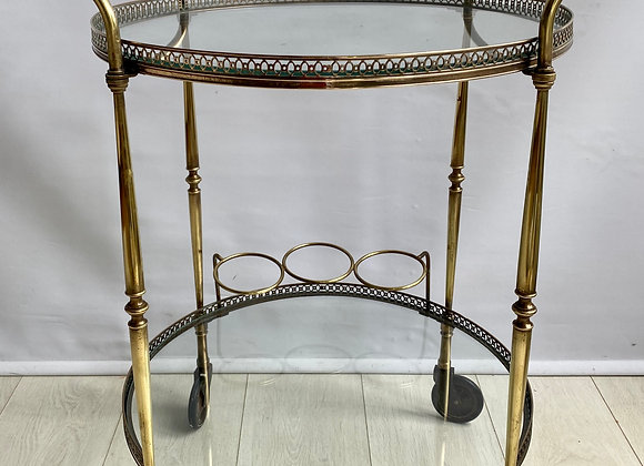 SOLD Round vintage Italian brass drinks trolley ref 2800