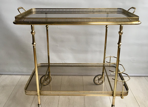 SOLD Vintage French brass bar cart (2650)
