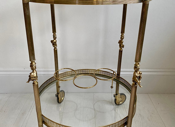 SOLD Vintage brass circular/round drinks trolley