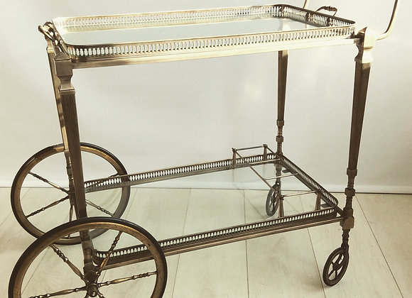Silver vintage French drinks trolley SOLD