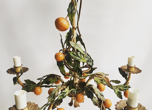 SOLD Vintage Italian orange Tole Light chandelier