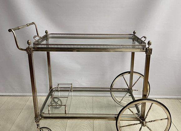 SOLD Classic vintage french silver drinks trolley