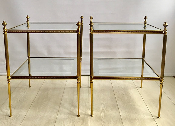 SOLD Pair of vintage brass side tables (ref 2620