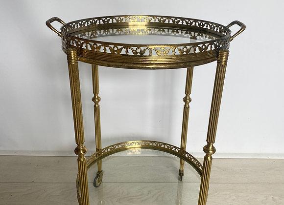 SOLD Circular round Vintage brass drinks trolley ref 2425
