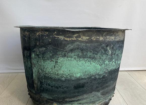 SOLD Large antique riveted verdigris copper vat planter