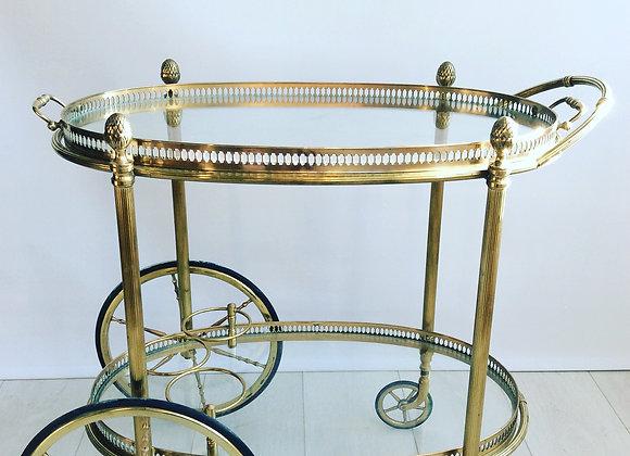 SOLD Beautiful oval brass drinks trolley ref 2376