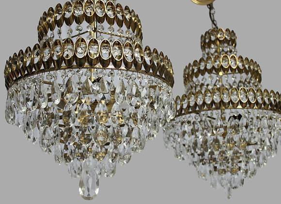 Stunning pair of waterfall chandeliers -sold