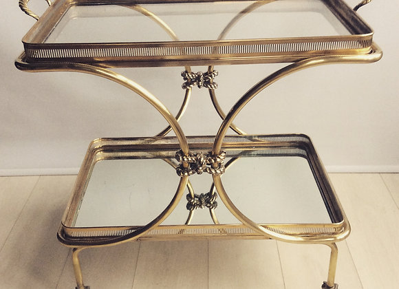SOLD Vintage French brass rope drinks trolley