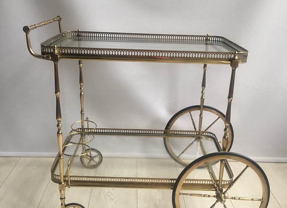SOLD Classic vintage French brass drinks trolley (2065)