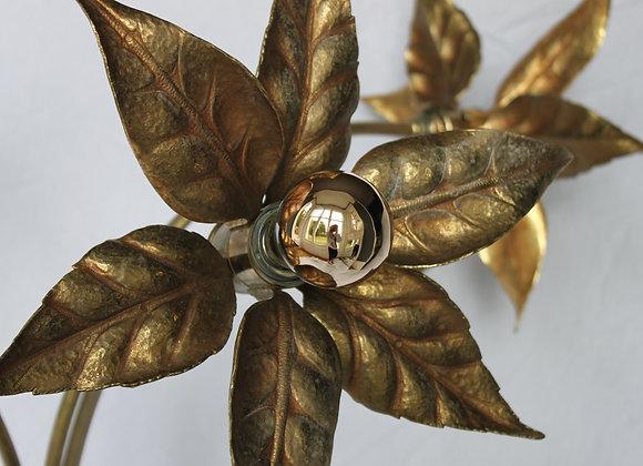 Mid-century brass floor lamp attr maison jansen