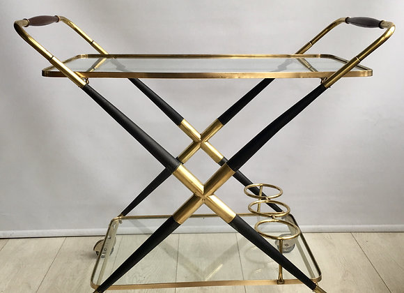 SOLD Mid Century bar cart drinks trolley, Cesare Lacca