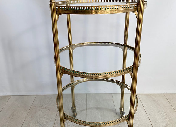 SOLD Vintage French brass round drinks trolley bar cart (ref2233)