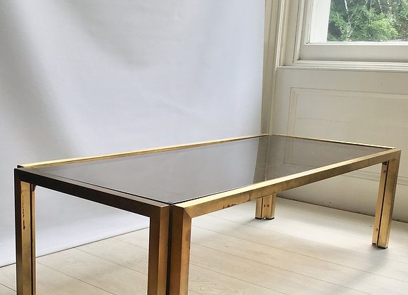 Large lacquered brass & smoked glass coffee table