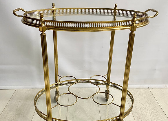SOLD Vintage French oval brass drinks trolley