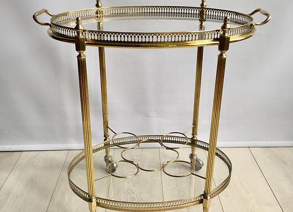 SOLD Vintage oval brass drinks trolley