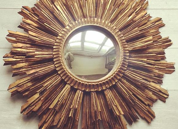 SOLDVintage French giltwood sunburst convex mirror