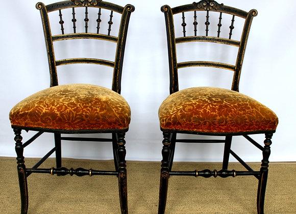 SOLD Pair of ebonised Napoleon III chairs