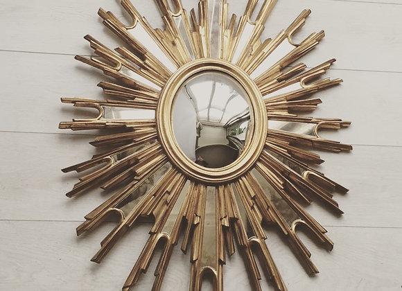 SOLD Decorative French convex  sunburst mirror