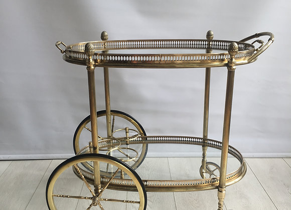 SOLD Vintage French Brass Oval Drinks Trolley  Bar Cart ref 2035