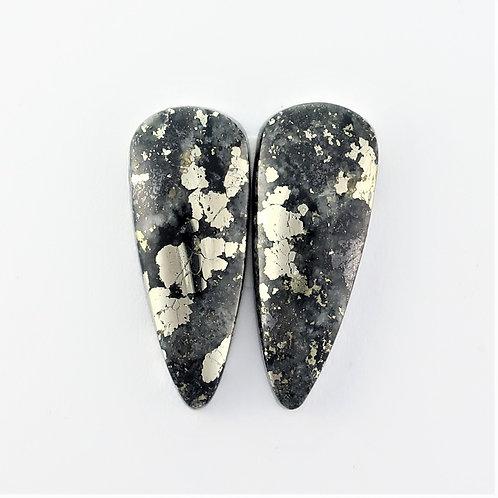 PYA:13 (SBBT) Pyrite in Agate 1 pair