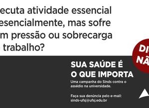 SINDS-UFSJ ABRE CANAL DE DENÚNCIAS CONTRA ASSÉDIO