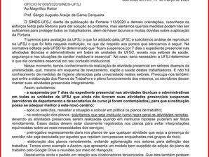 COMUNICADO AOS TÉCNICOS DA UFSJ