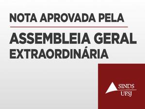 CONFIRA A NOTA APROVADA NA ASSEMBLEIA DESTA TERÇA (14)