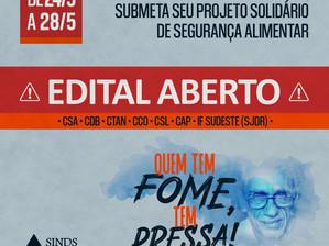SINDS-UFSJ LANÇA EDITAL PARA INSCRIÇÃO DE PROJETOS SOLIDÁRIOS