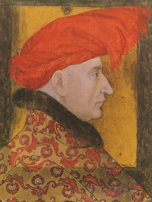 Gemälde mit einer Kopfbedeckung aus dem 15. Jahrhundert.