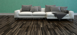 3D Rendering of White Sofa with Grey Cushions in Room with Hardwood Flooring and Teal-Green Colored