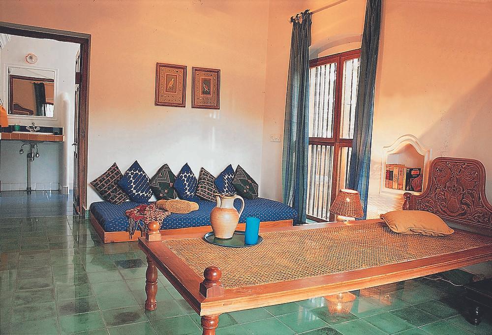 Ethnic style Interior using traditional Chettinad tiles