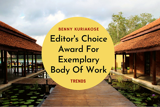 Dr. Benny Kuriakose being awarded the Trends Excellence Awards - Editors Choice for Exemplary Body of Work.