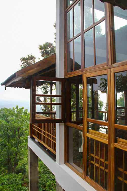 Exterior Glass and Timber Frame Details