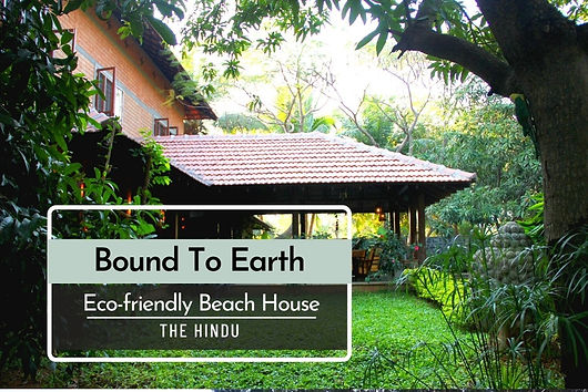 """The Hindu has featured the home of Ranjeet and Maria Jacob. The proud owners talk about their eco-friendly earth-block beach house. """"This is a house that celebrates its connect with the earth, by way of both design and building material. Maria and Ranjeet Jacob's mud block house on the ECR happens to be both down-to-earth and flamboyant at the same time."""""""