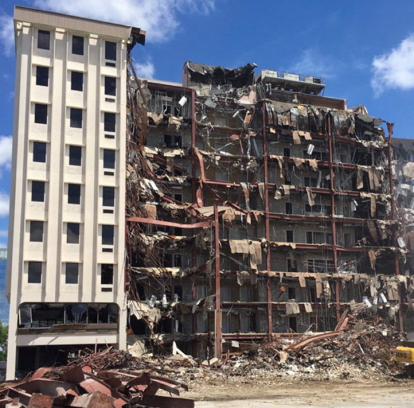 Demolition of High-rise concrete building