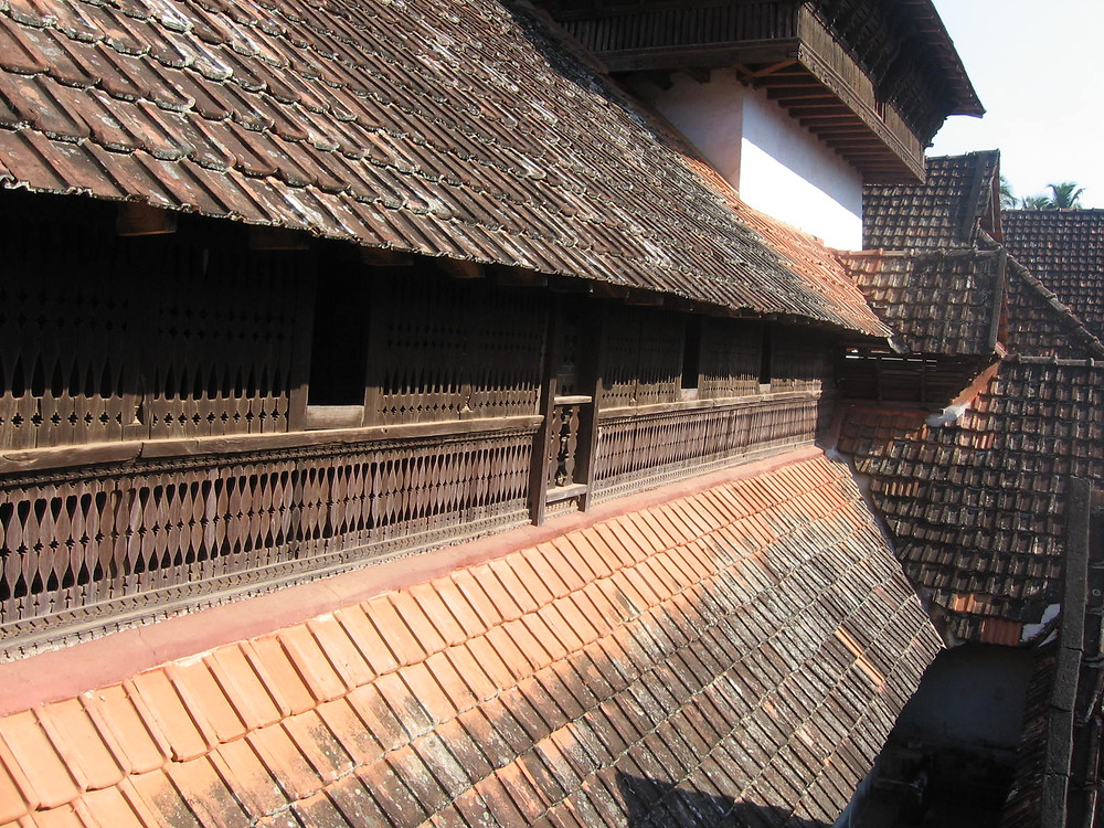 View of the timber jallis in Padmanabhapuram Palace from outside.