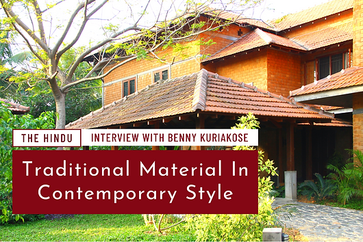 Interview with Benny Kuriakose for The Hindu - An advocate of nature and functionality, Benny Kuriakose believes that 'no wastage' architecture, if embraced, is a bigger step towards sustainability.