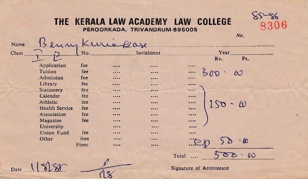 Kerala Law College Fees Receipt