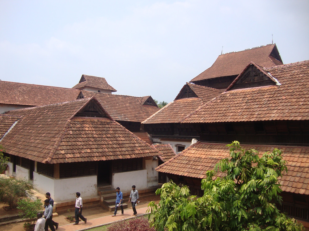 A view of the Padmanabhapuram Palace Complex in Kanyakumari District. This is an example of the traditional Kerala Architecture with prominent roofs.
