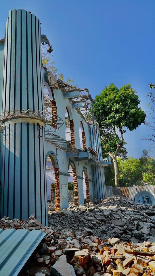 Cheraman Masjid Concrete Additions Being Demolished