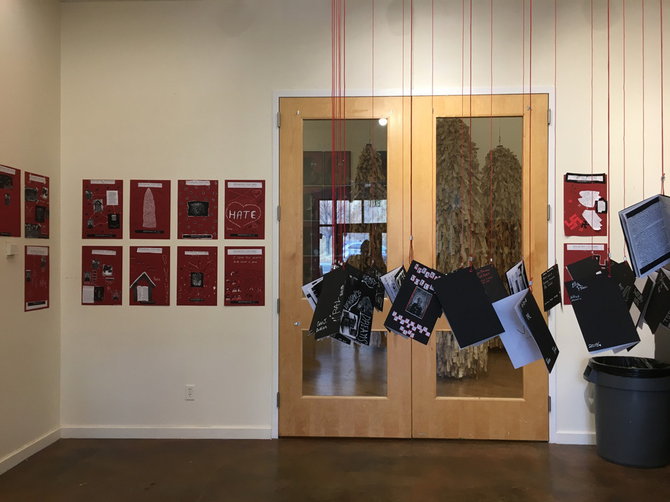 Installation detail for Speaking Volumes: Scores for Transforming Hate, an exhibit created in collaboration with over 400 students from the Helena area.