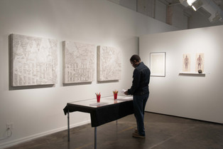 In Equality (installation view of Triptych with interactive poem-making station)
