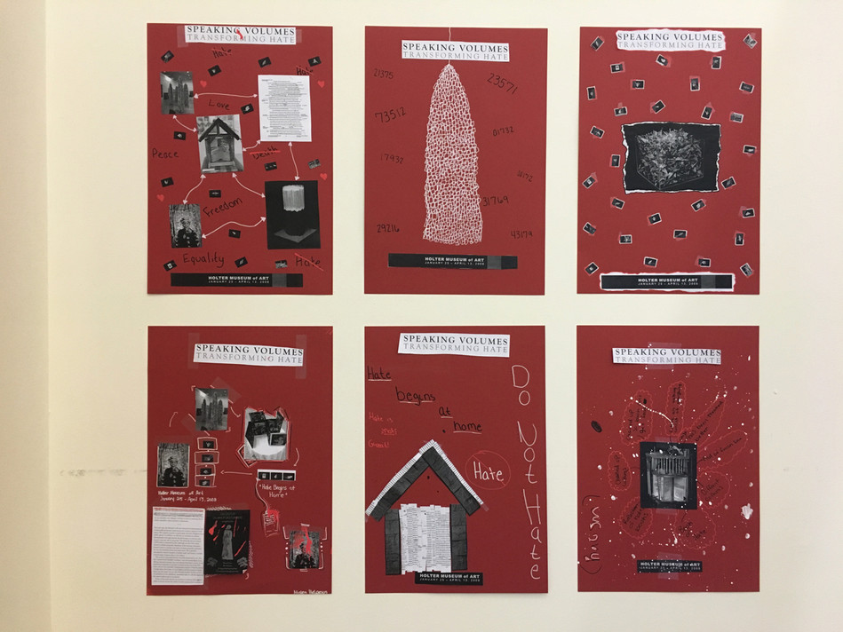 Detail of student posters installed for Speaking Volumes: Scores for Transforming Hate
