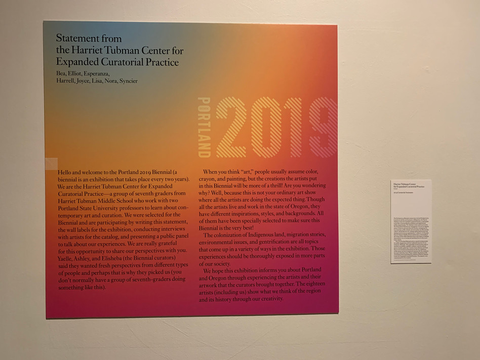 Student authored curatorial statement for 2019 Portland Biennial