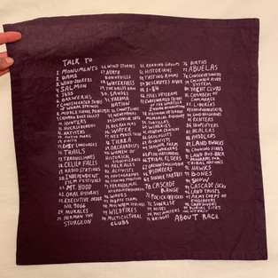Silkscreened napkins for participants with 100 Sites for Talks about Race in Hood River, OR