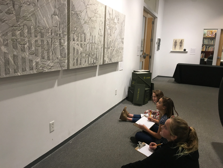 Helena students research my work In Equality for our upcoming workshop and exhibit, Speaking Volumes: Scores for Transforming Hate, Holter Museum of Art