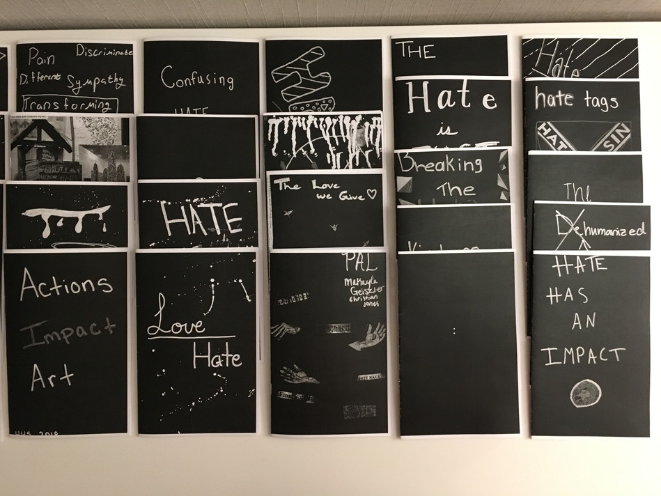 Detail of student zines installed for Speaking Volumes: Scores for Transforming Hate (2018)